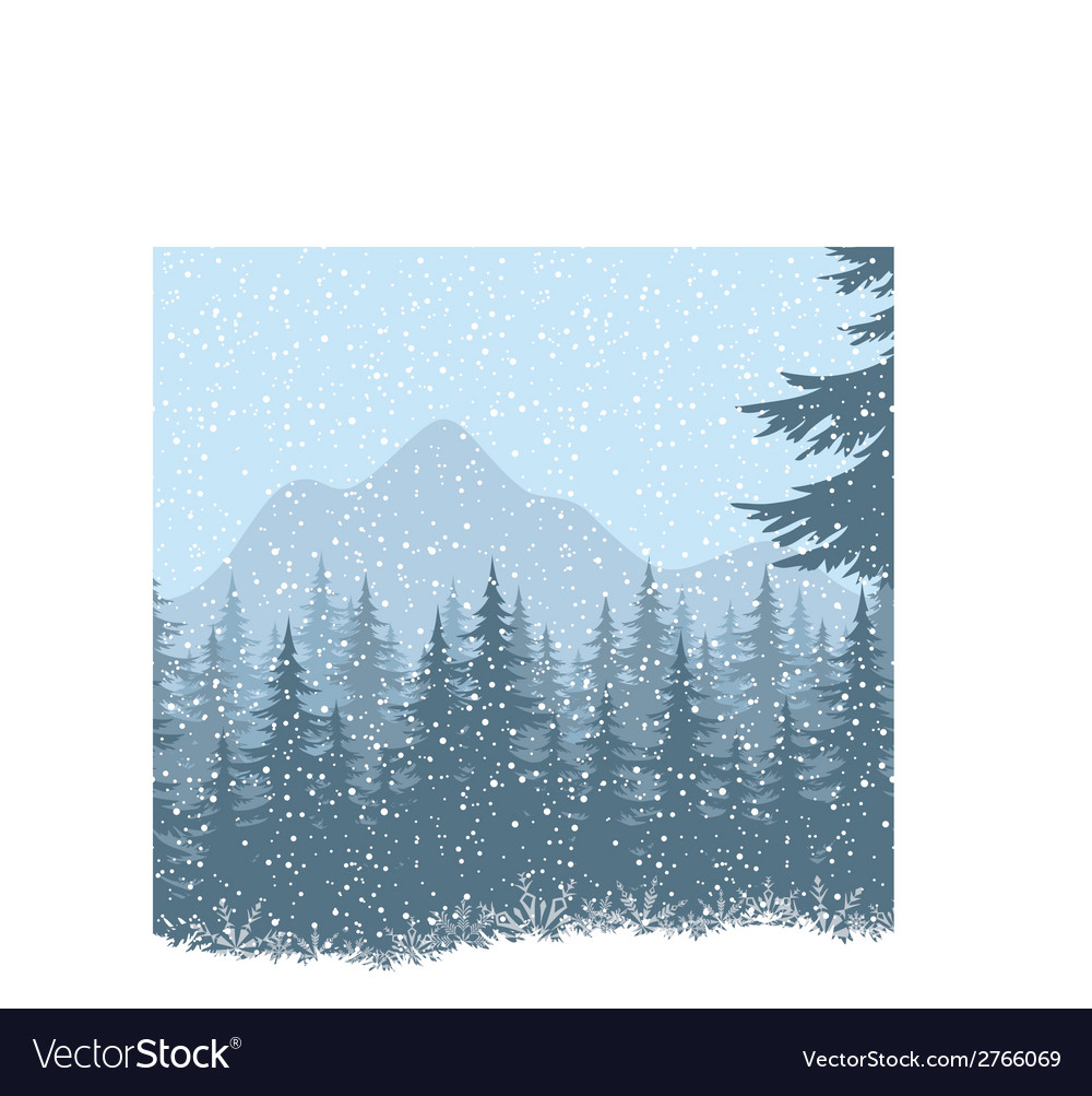 Winter mountain landscape with fir trees vector | Price: 1 Credit (USD $1)