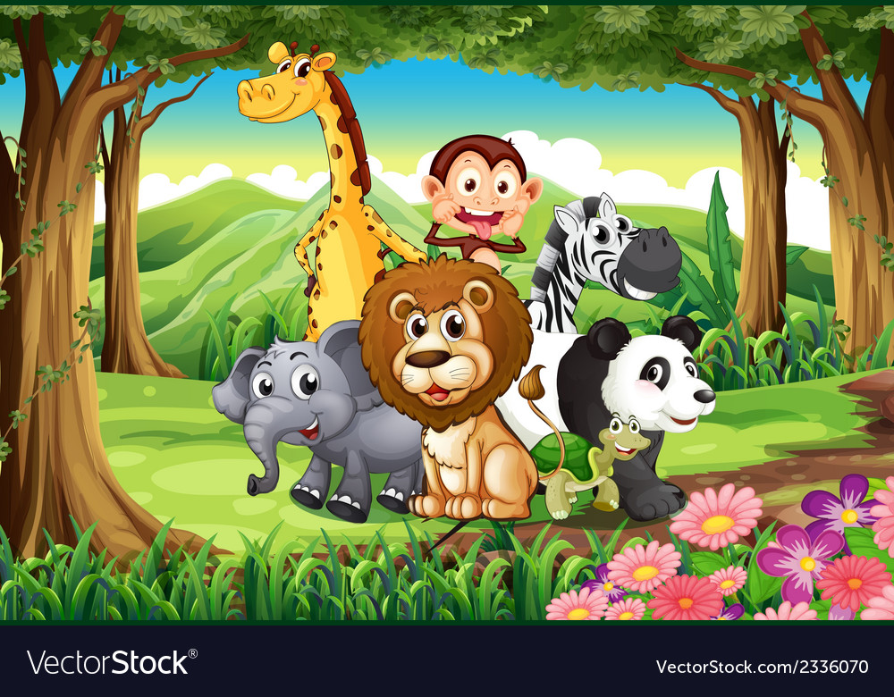 A forest with animals vector | Price: 3 Credit (USD $3)