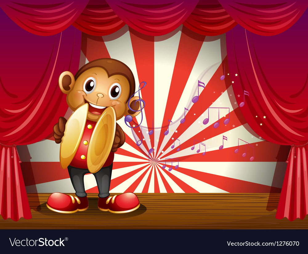 A monkey with cymbals and musical notes at the vector | Price: 1 Credit (USD $1)