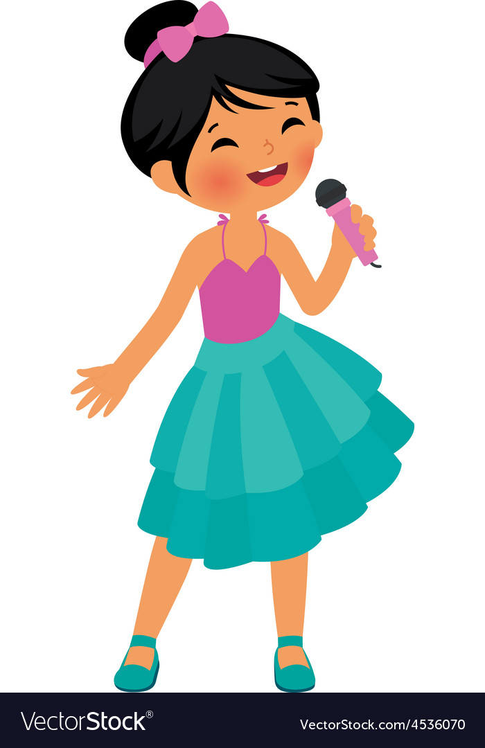 Asian little girl singing hold the microphone vector | Price: 1 Credit (USD $1)