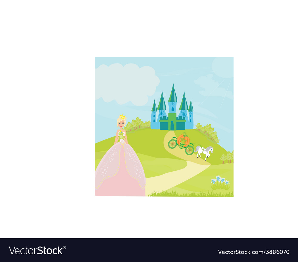 Beautiful young princess holding a big frog vector | Price: 1 Credit (USD $1)