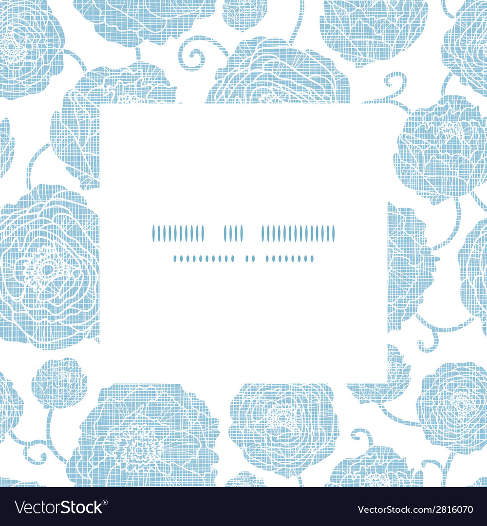 Blue textile peony flowers square frame pattern vector | Price: 1 Credit (USD $1)