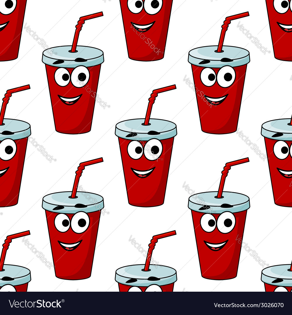 Cartoon takeaway beverage seamless pattern vector | Price: 1 Credit (USD $1)