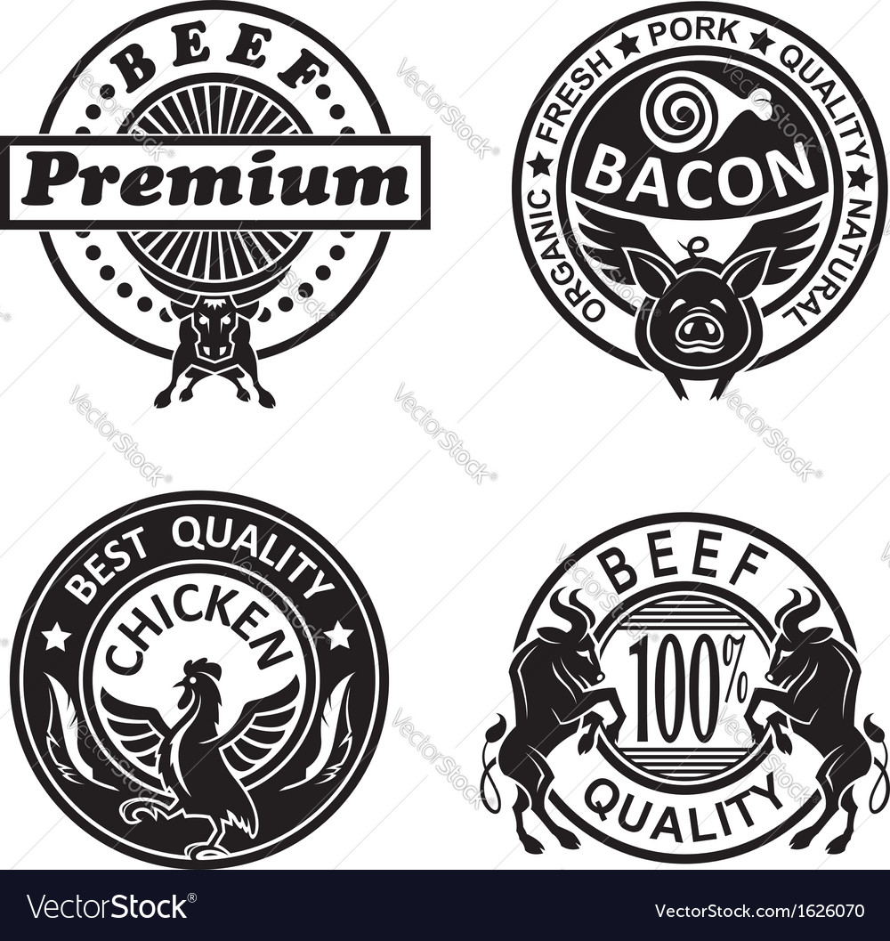 Collection of grill labels vector | Price: 1 Credit (USD $1)