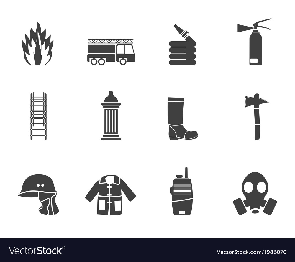 Fire-brigade and fireman equipment icon vector | Price: 1 Credit (USD $1)