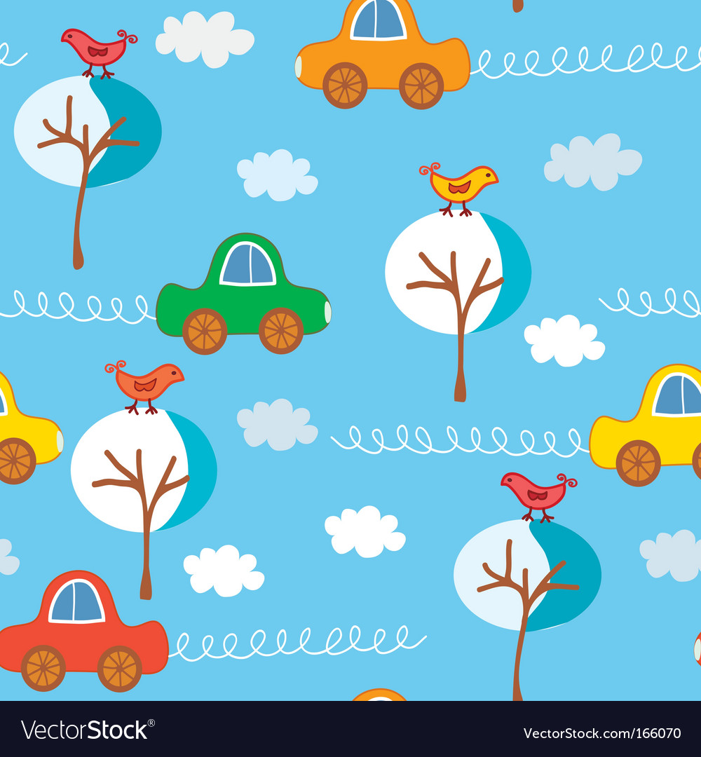 Seamless cute cars winter pattern vector | Price: 1 Credit (USD $1)