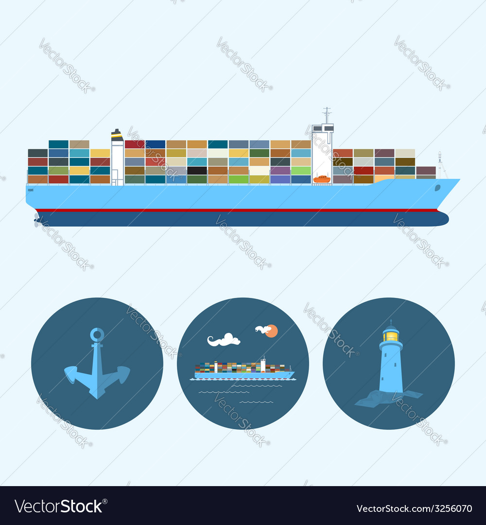 Set with anchor lighthouse and container ship vector | Price: 1 Credit (USD $1)