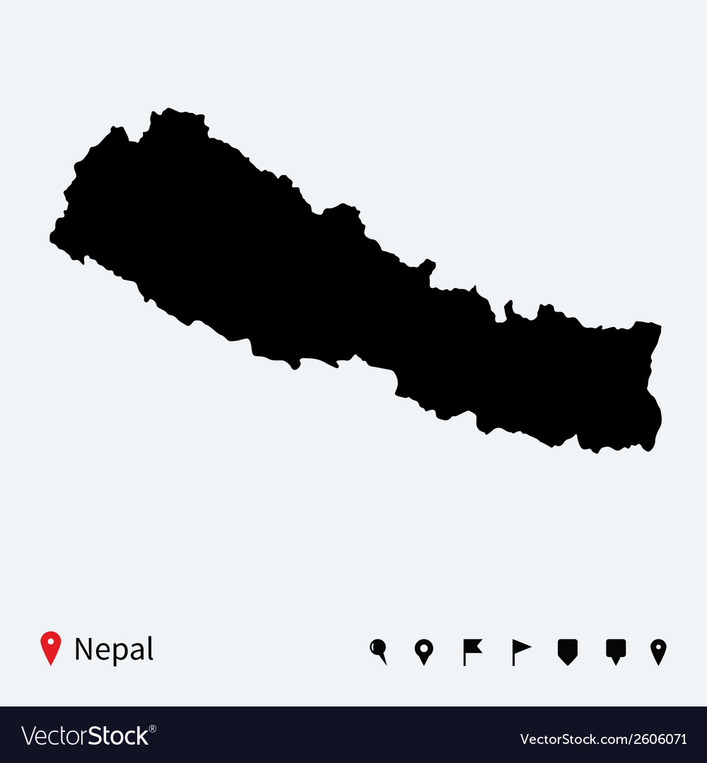 High detailed map of nepal with navigation pins vector | Price: 1 Credit (USD $1)