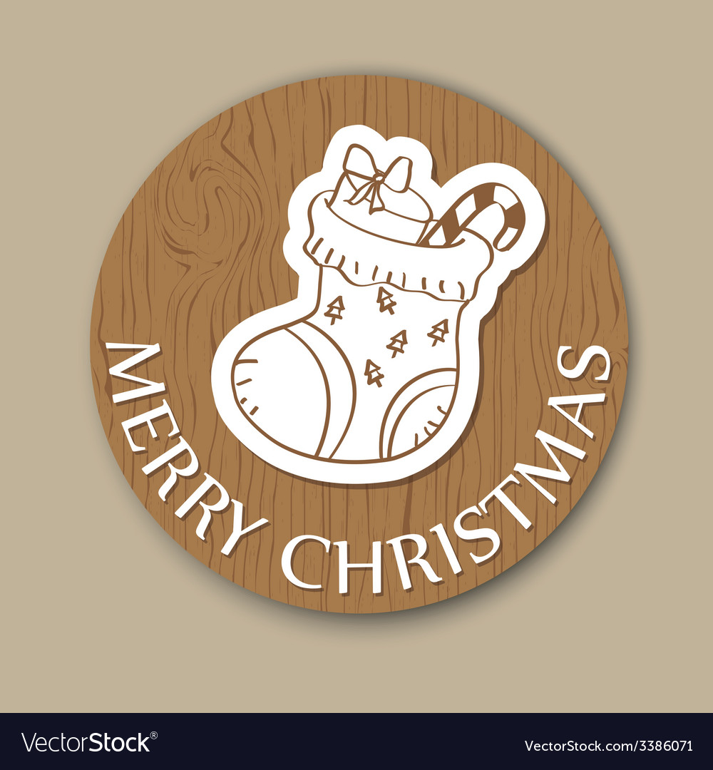 Round wood christmas greeting card vector | Price: 1 Credit (USD $1)