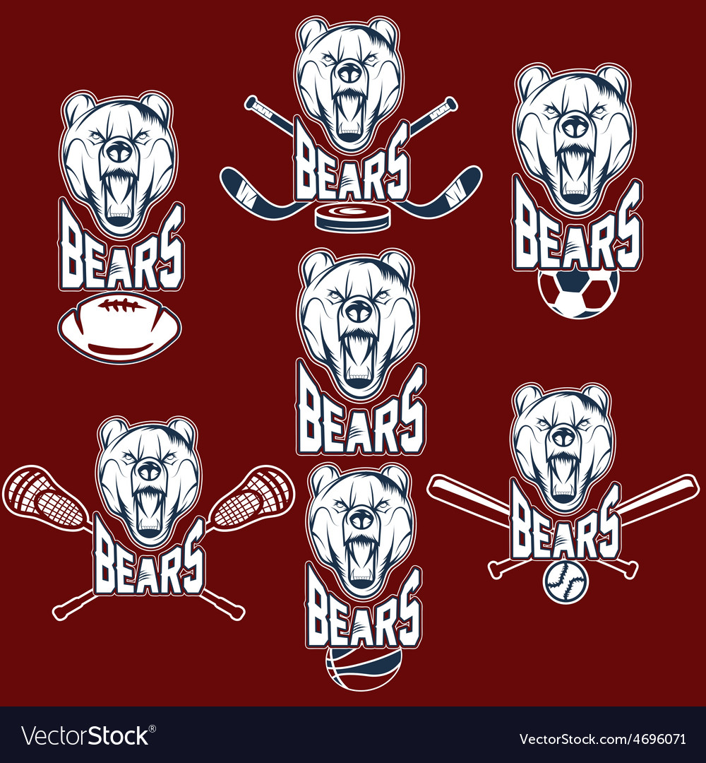 Set of bear sports labels vector | Price: 1 Credit (USD $1)
