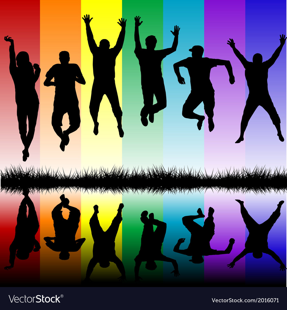 Silhouettes of young people jumping vector | Price: 1 Credit (USD $1)