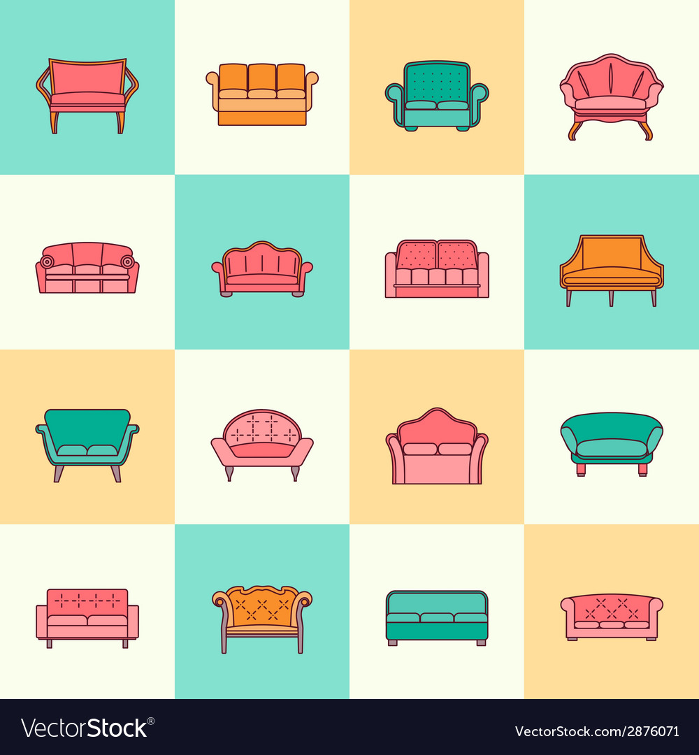 Sofa icon flat line vector | Price: 1 Credit (USD $1)
