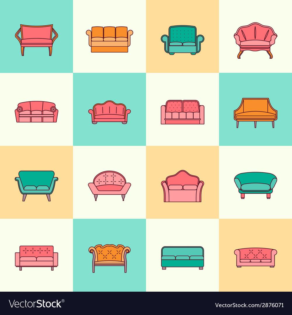 Sofa icon flat line vector   Price: 1 Credit (USD $1)