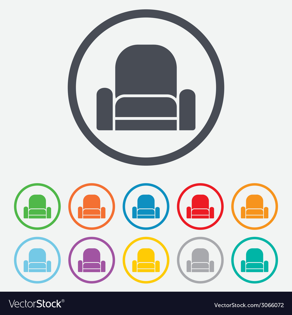Armchair sign icon modern furniture symbol vector | Price: 1 Credit (USD $1)