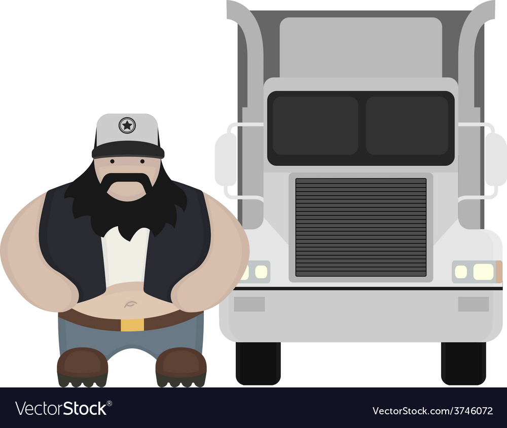 Cartoon style truck driver standing no outline vector | Price: 1 Credit (USD $1)