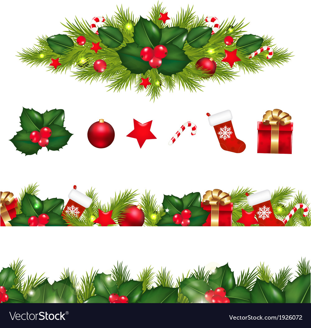 Christmas borders set with xmas garland vector | Price: 1 Credit (USD $1)