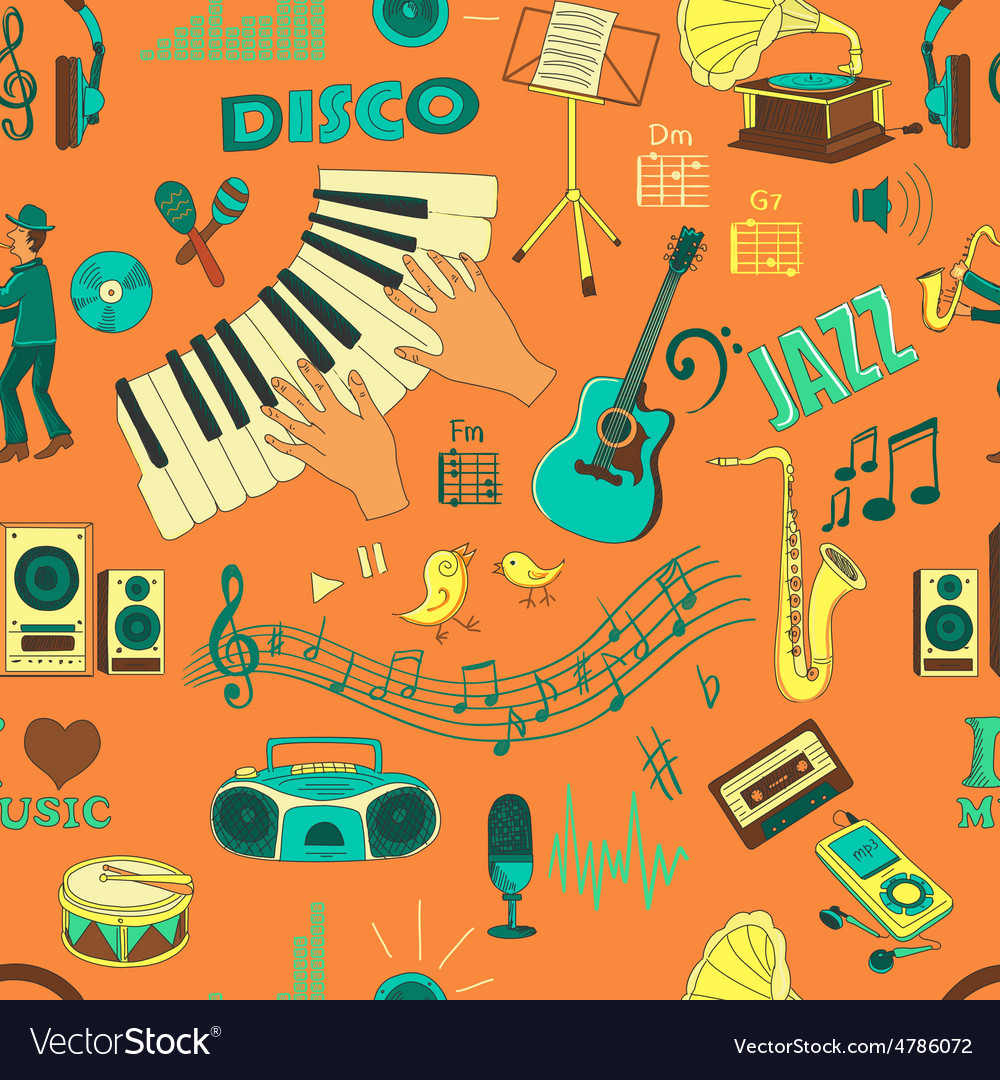 Colored hand draw music pattern vector | Price: 1 Credit (USD $1)