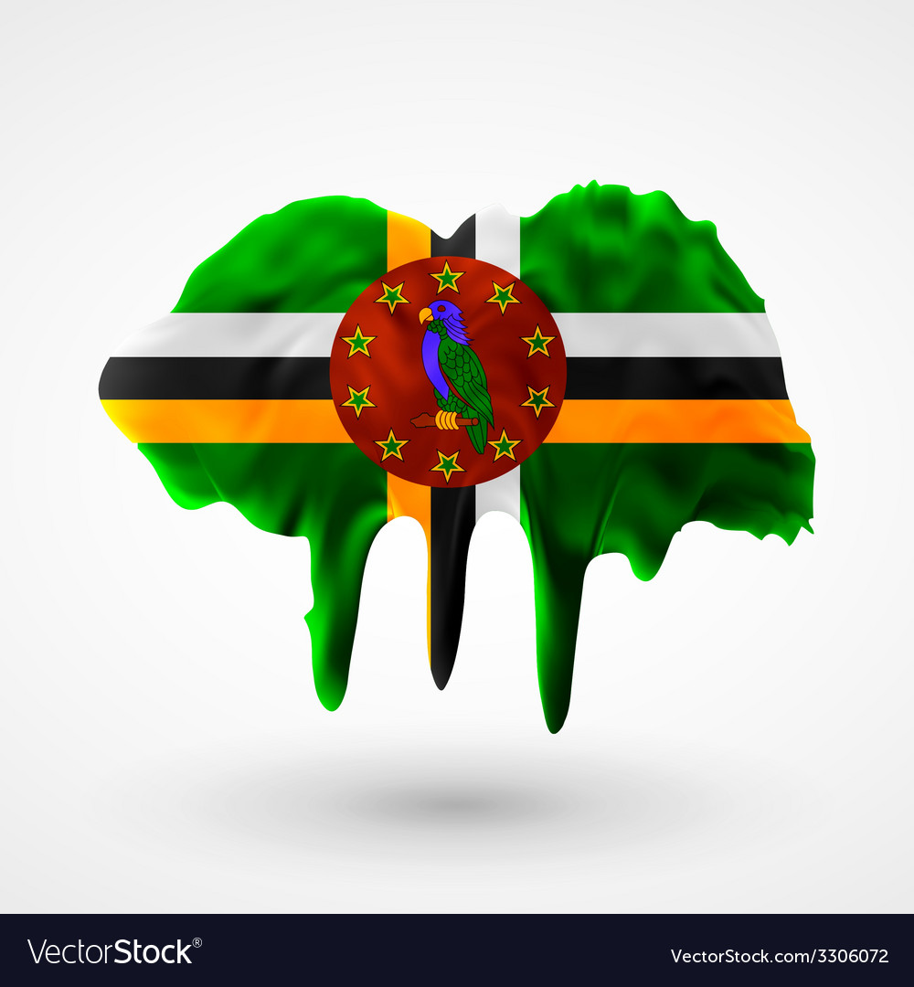 Flag of dominica painted colors vector | Price: 1 Credit (USD $1)
