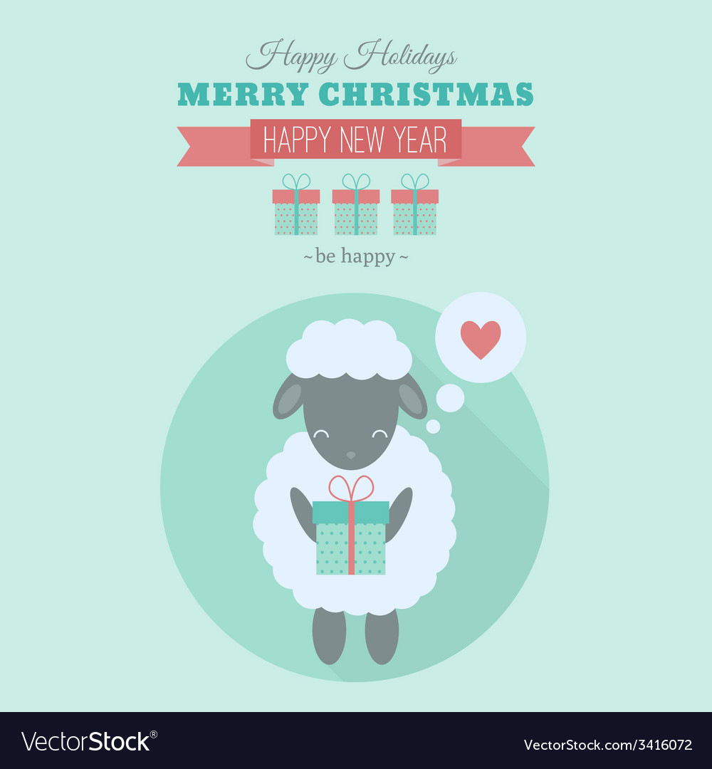 New year card with sheep in flat vector   Price: 1 Credit (USD $1)