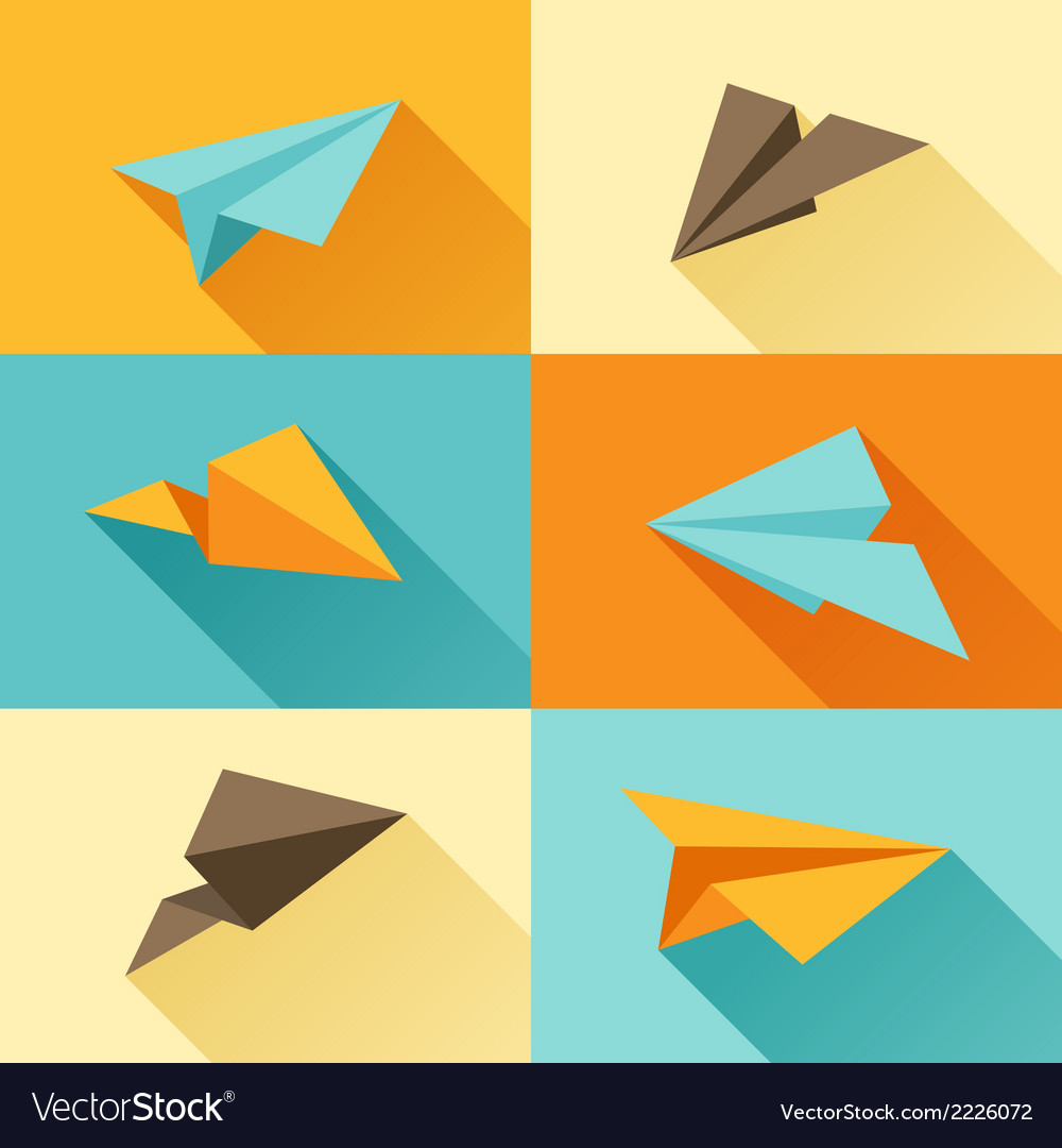 Set of paper planes in flat design style vector | Price: 1 Credit (USD $1)
