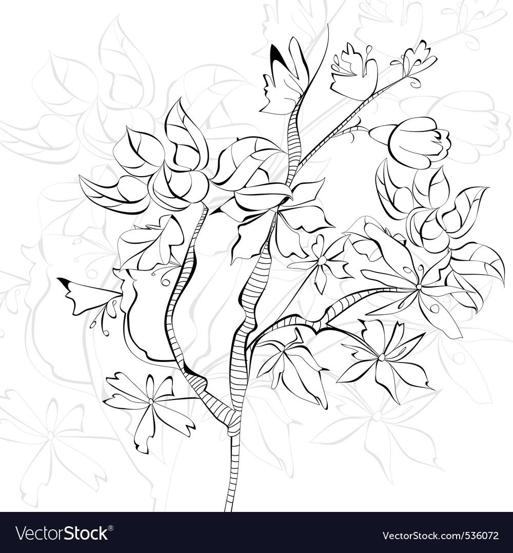 Sketch with decorative tree vector | Price: 1 Credit (USD $1)