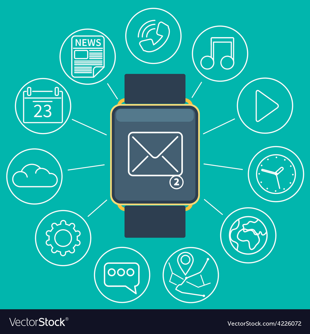 Smart watch flat vector | Price: 1 Credit (USD $1)