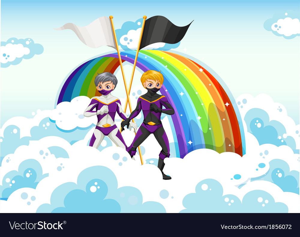 Superheroes in the sky near the rainbow vector | Price: 3 Credit (USD $3)