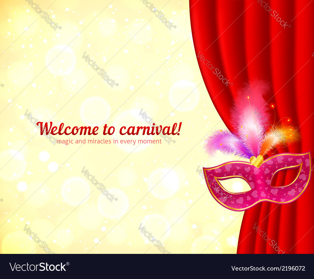 Theater and carnival background with mask vector | Price: 1 Credit (USD $1)