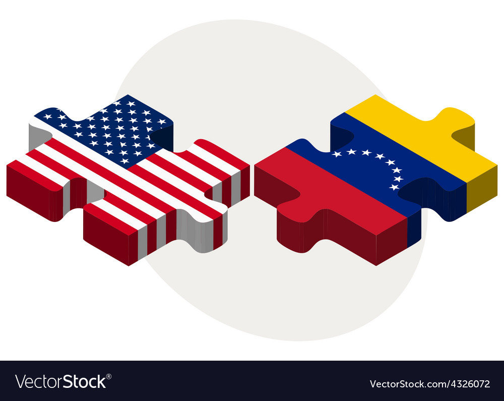 Usa and venezuela flags in puzzle vector | Price: 1 Credit (USD $1)