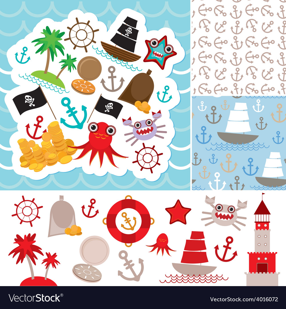 Vintage scrap nautical card and seamless pattern vector | Price: 1 Credit (USD $1)