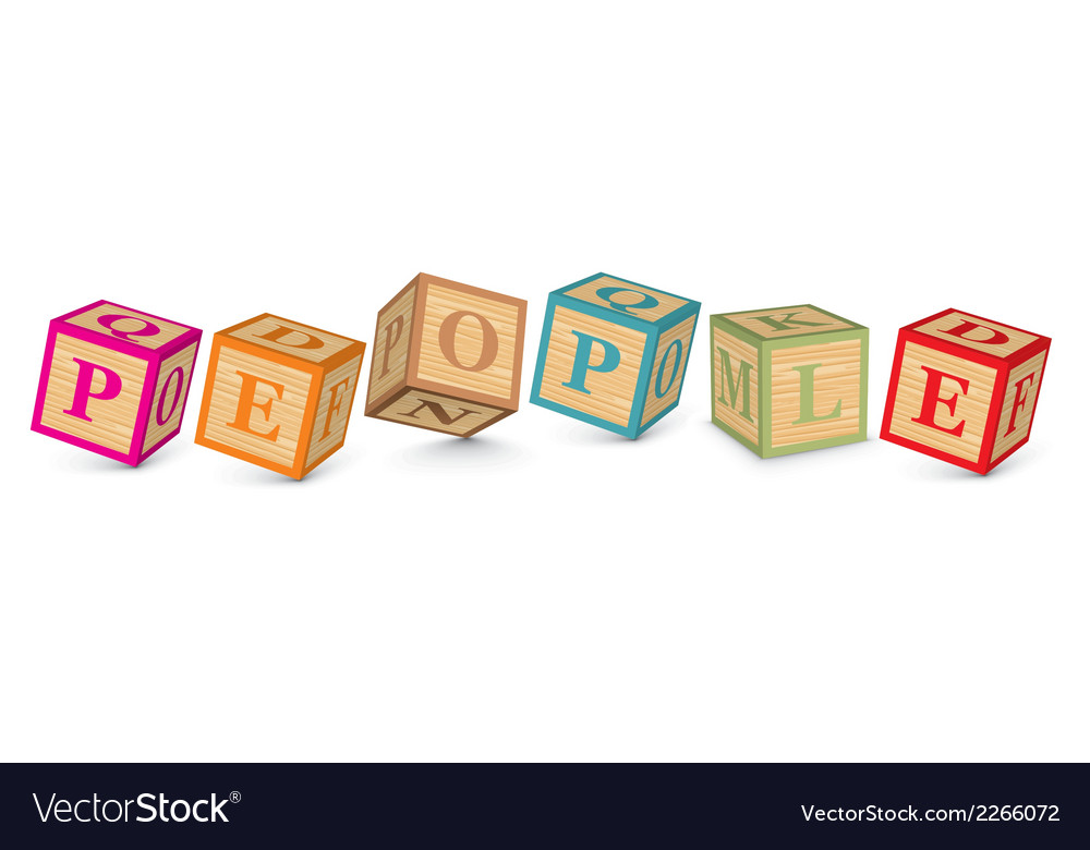 Word people written with alphabet blocks vector | Price: 1 Credit (USD $1)