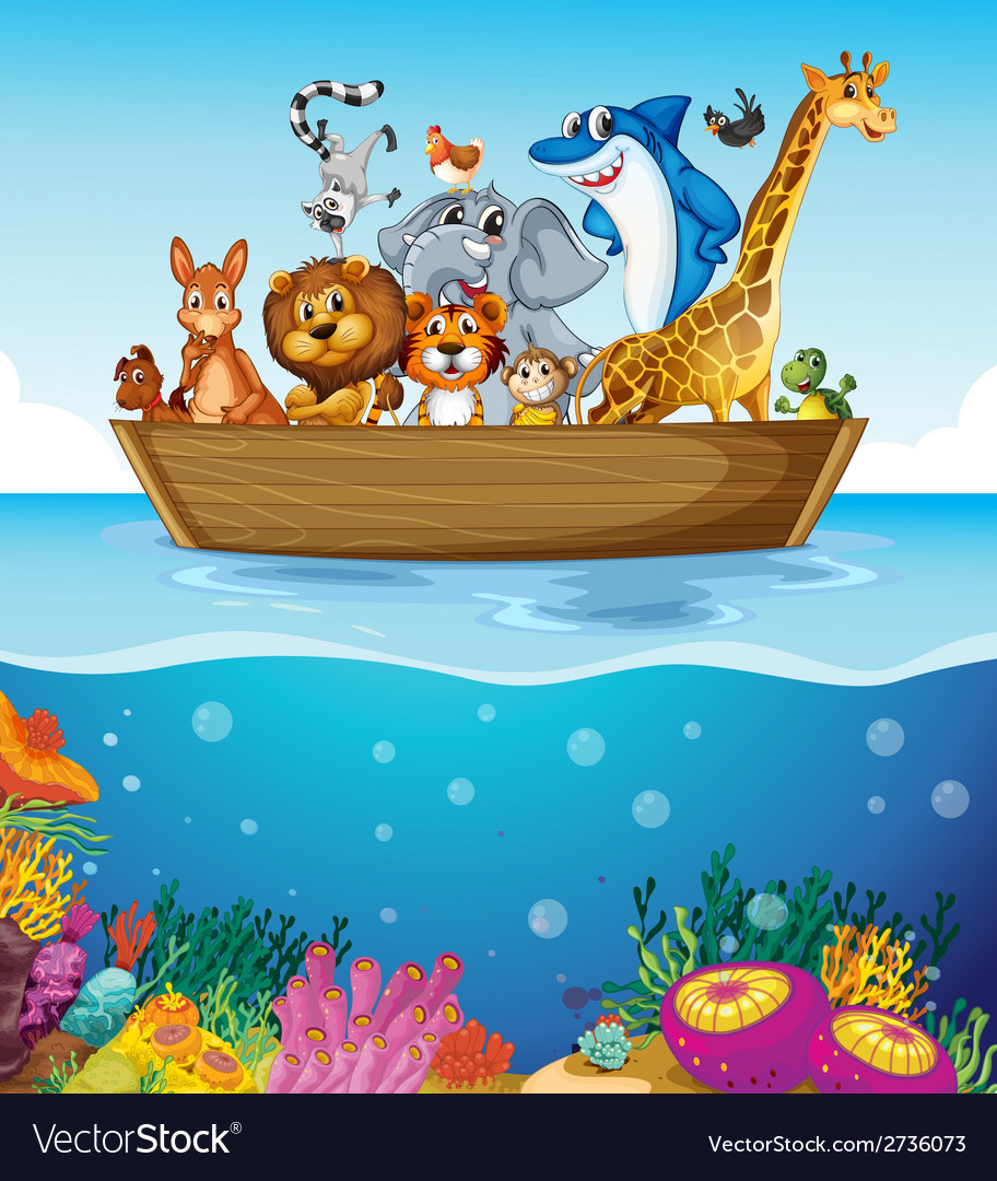 A boat at the sea with animals vector | Price: 1 Credit (USD $1)