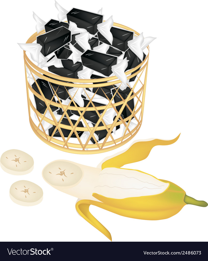 A brown basket of sweet banana candies vector | Price: 1 Credit (USD $1)
