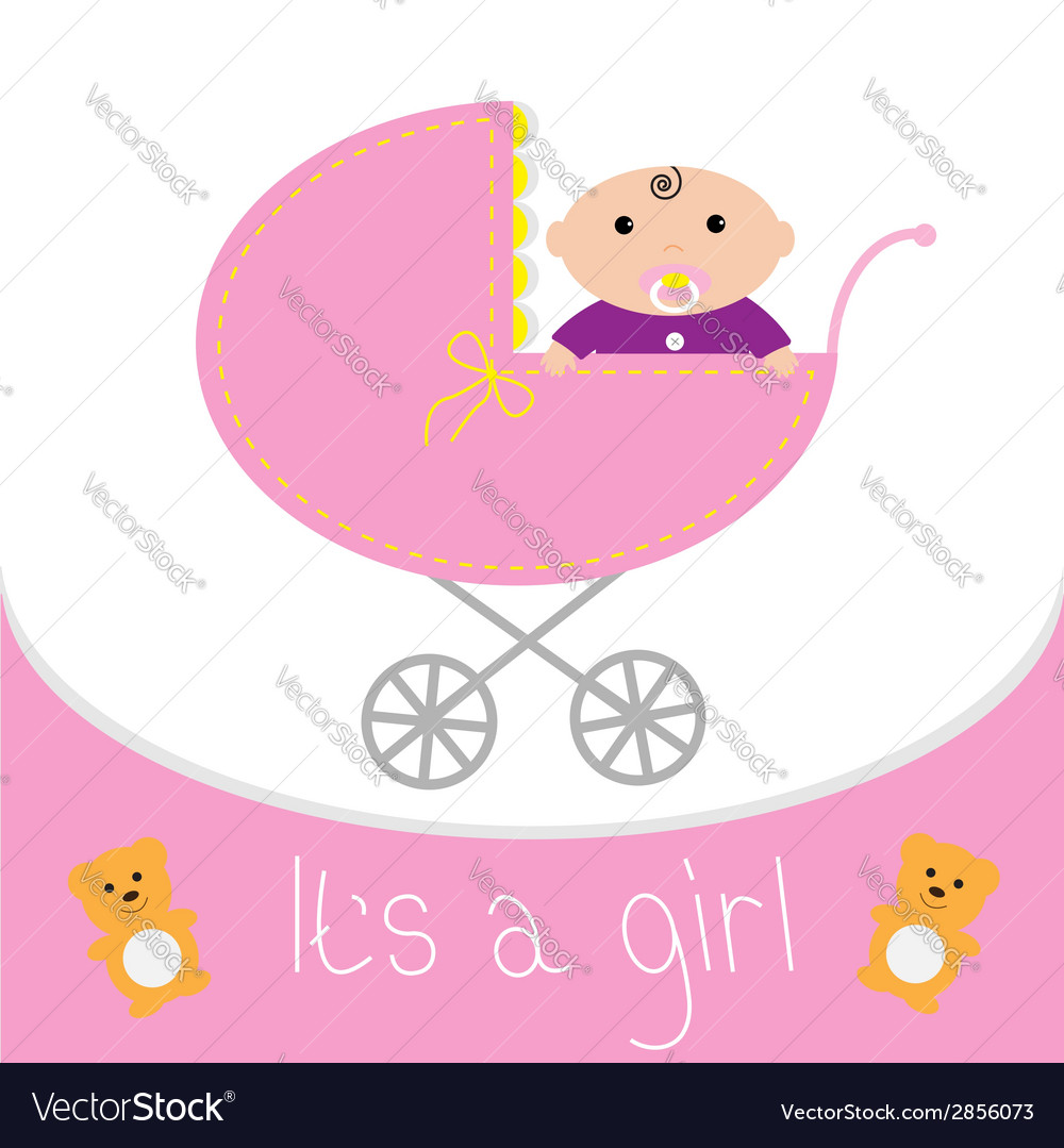 Baby pink carriage its a girl flat design style vector | Price: 1 Credit (USD $1)