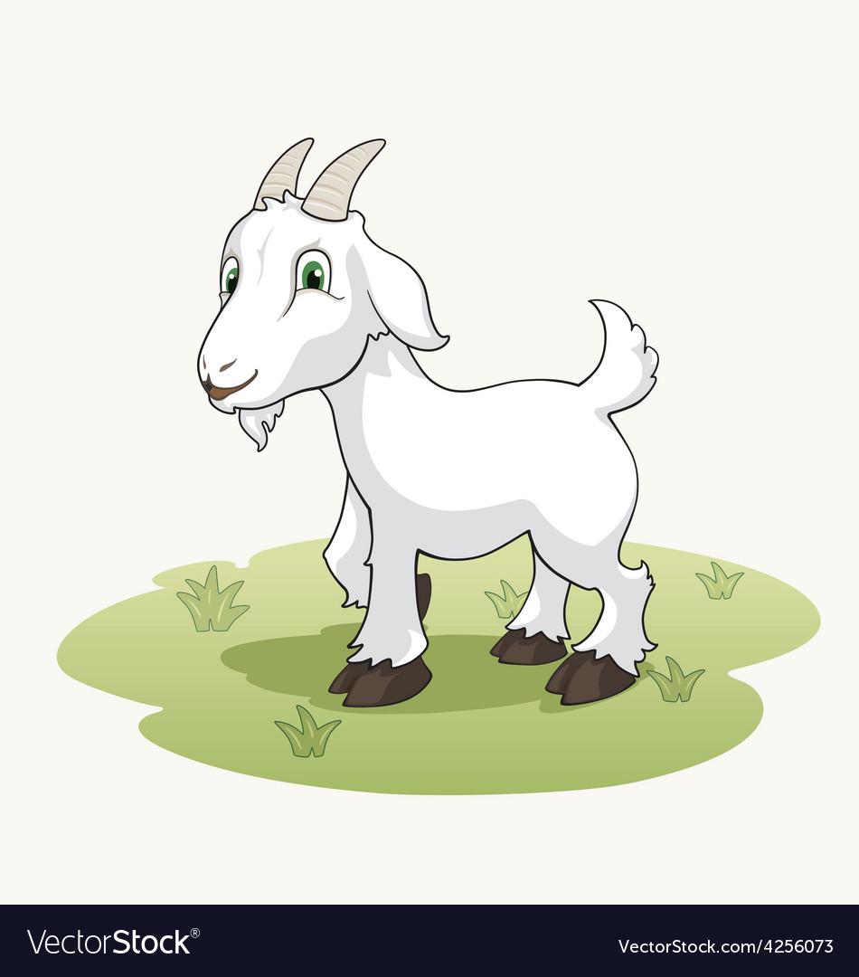Cute cartoon goat on the grass vector