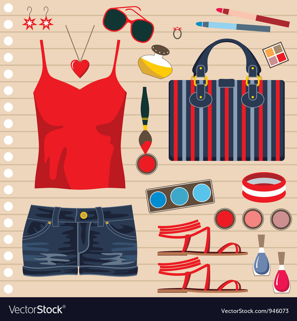 Fashion set with jeans skirt vector | Price: 1 Credit (USD $1)