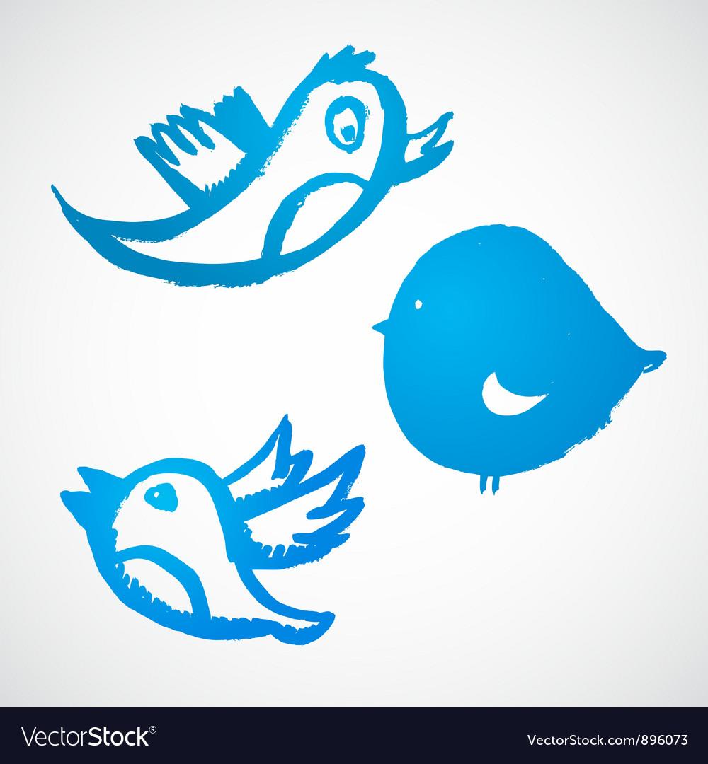 Grunge blue birds set vector | Price: 1 Credit (USD $1)