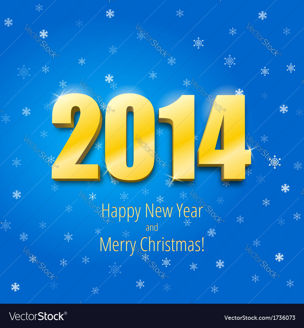 Happy new year 2014 three-dimensional gold figures vector | Price: 1 Credit (USD $1)