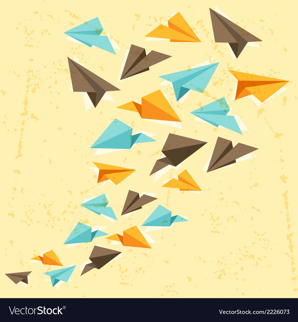 Paper planes on the grunge background vector | Price: 1 Credit (USD $1)