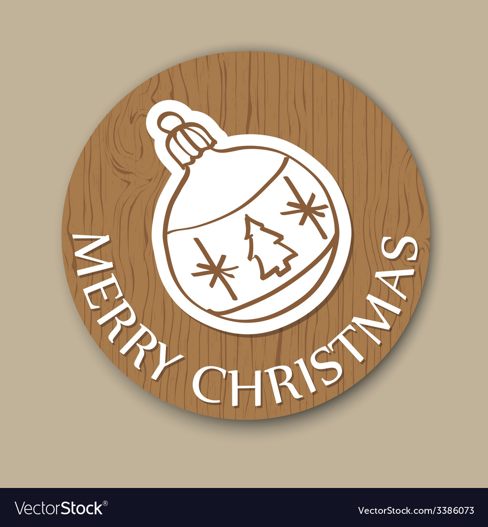 Round woody christmas greeting card with ball vector | Price: 1 Credit (USD $1)