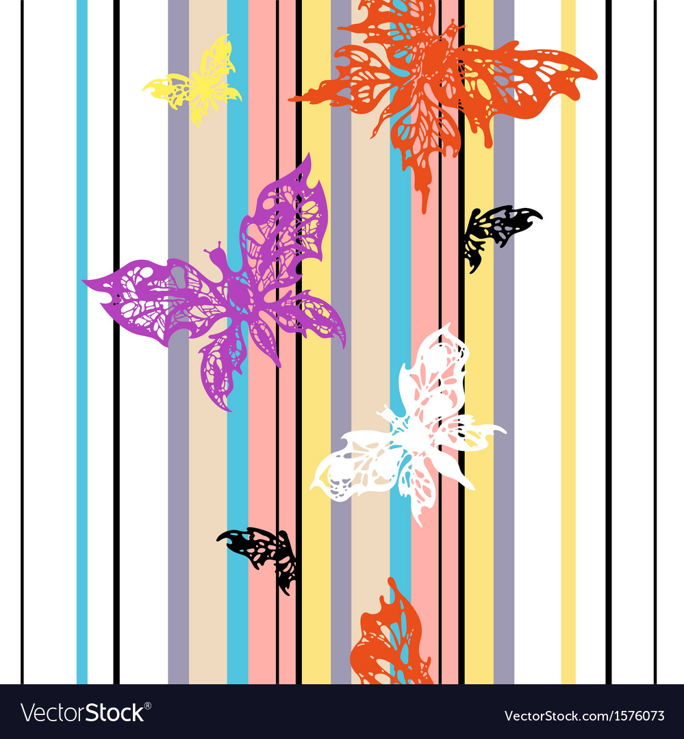 Seamless striped background with butterflies vector | Price: 1 Credit (USD $1)