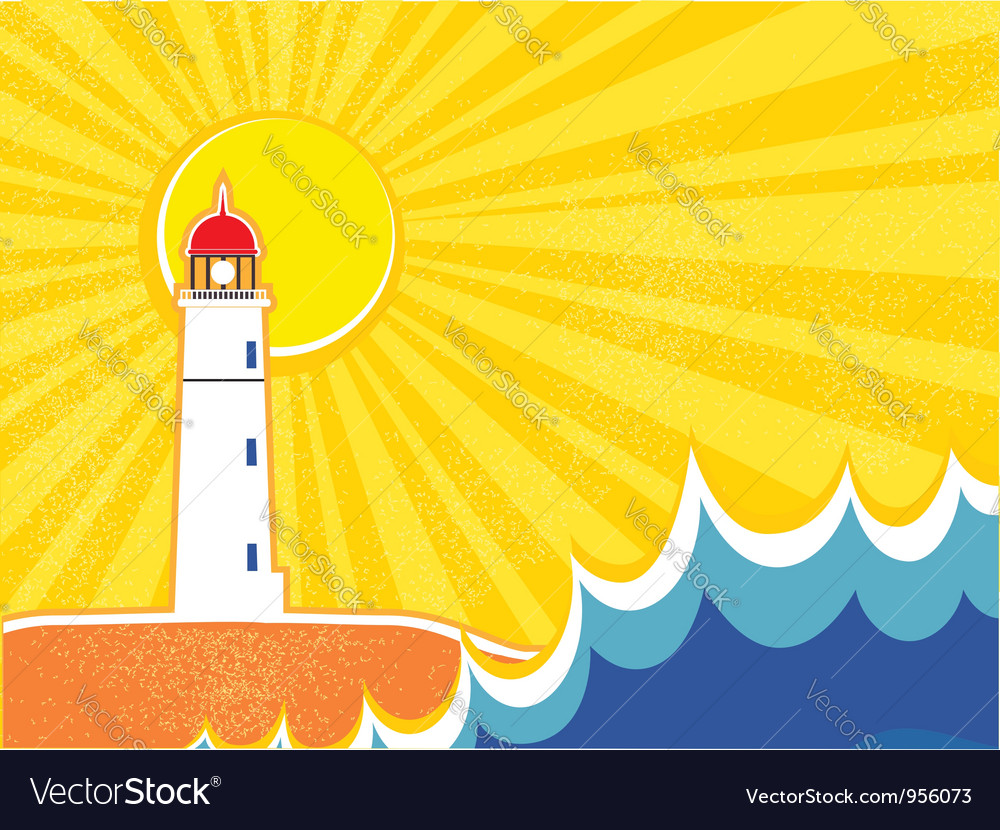 Seascape horizon with lighthouse vector | Price: 1 Credit (USD $1)