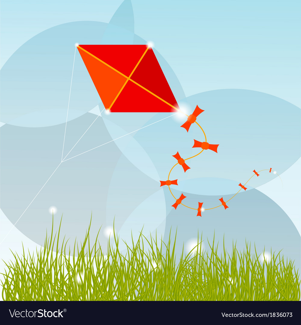 Summer background with grass clouds and a red kite vector | Price: 1 Credit (USD $1)