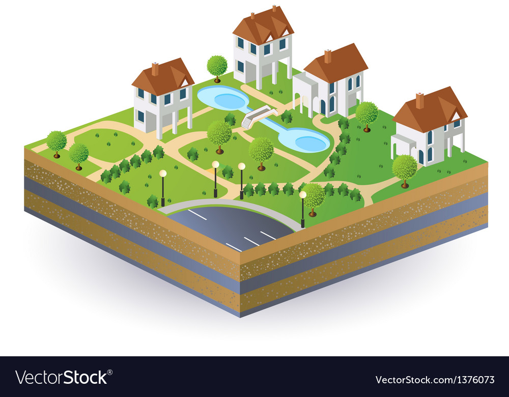 Village houses vector | Price: 1 Credit (USD $1)