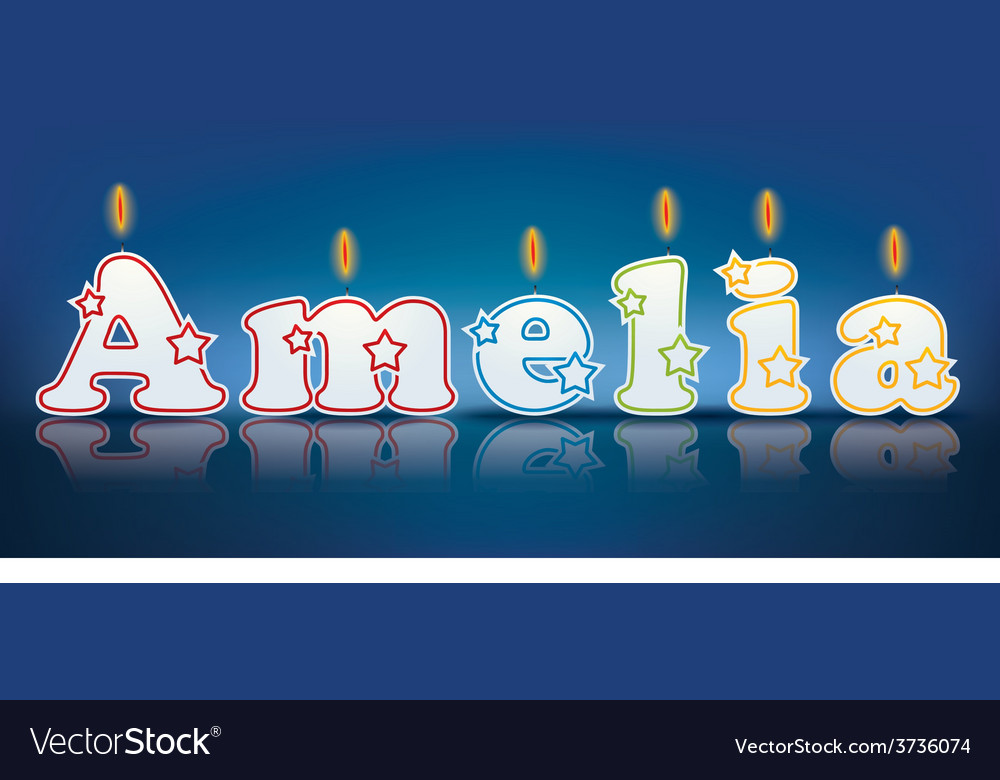 Amelia written with burning candles vector | Price: 1 Credit (USD $1)