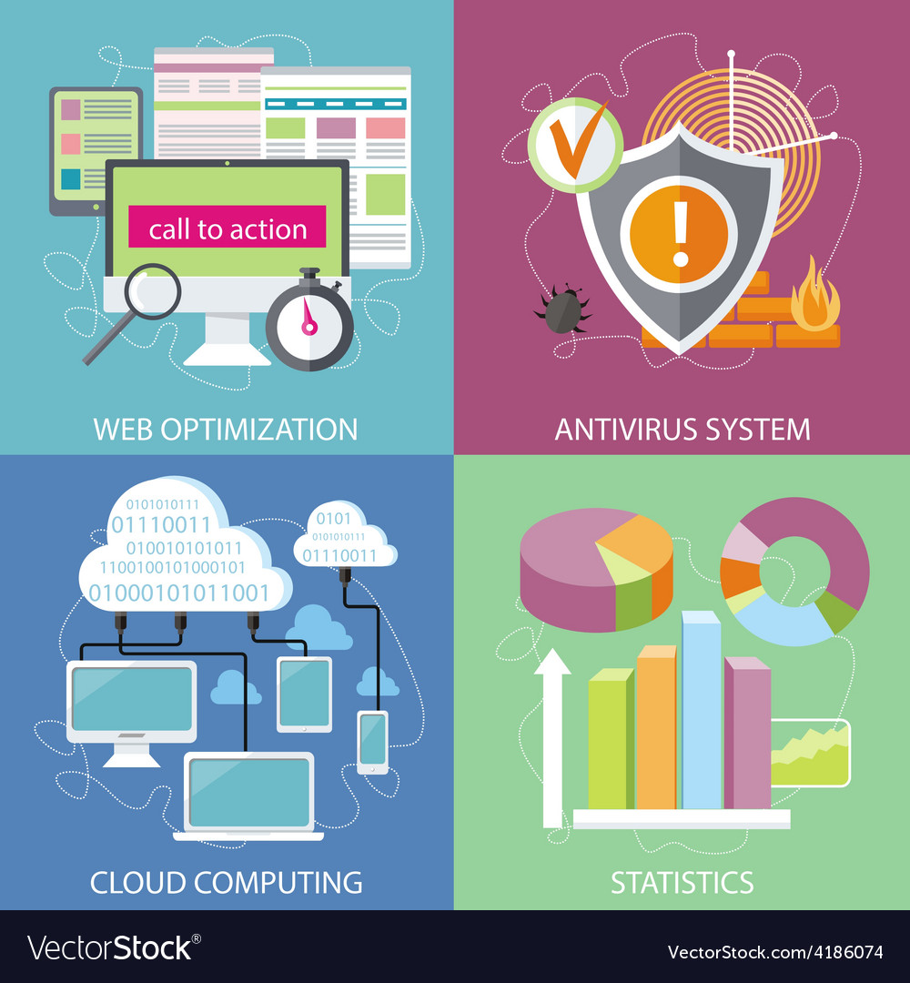 Antivirus system cloud computing statistics vector | Price: 1 Credit (USD $1)