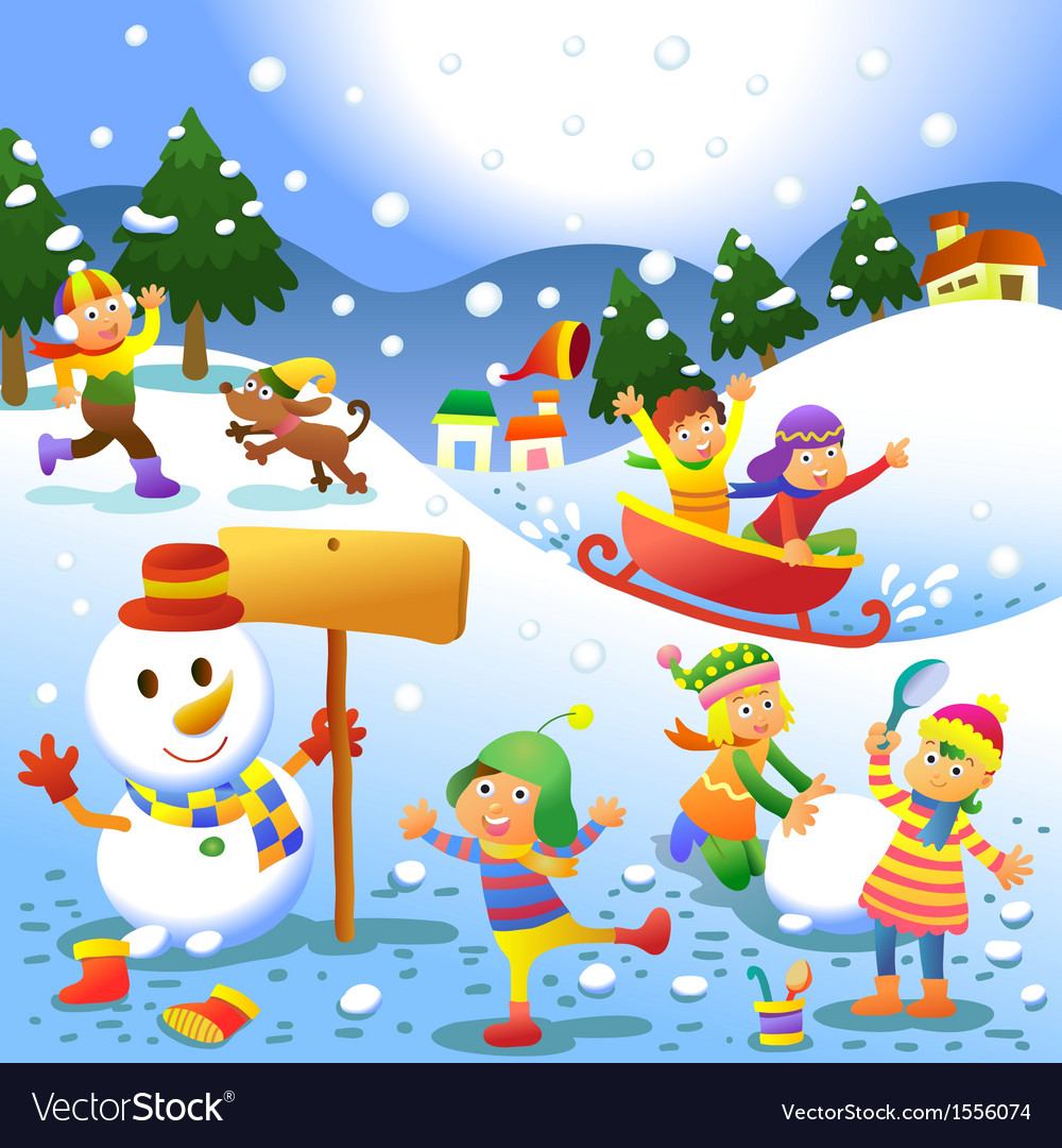 Cute kids playing winter games vector | Price: 3 Credit (USD $3)