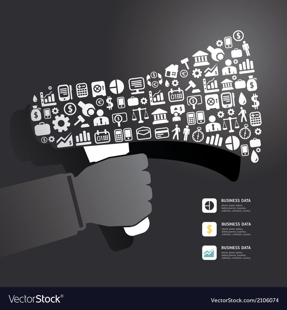 Elements are small icons finance make in megaphone vector | Price: 1 Credit (USD $1)
