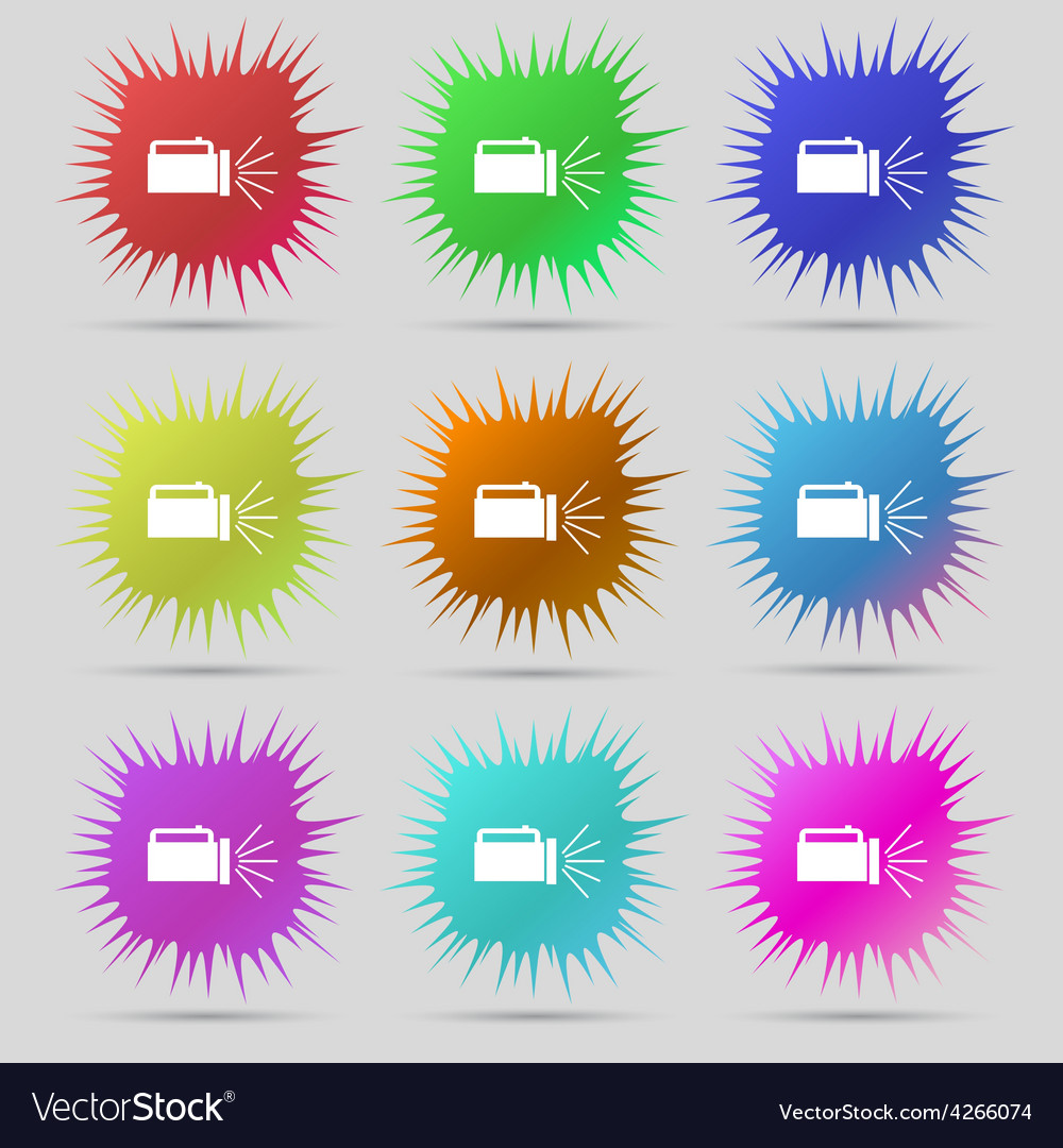 Flashlight icon sign a set of nine original needle vector | Price: 1 Credit (USD $1)