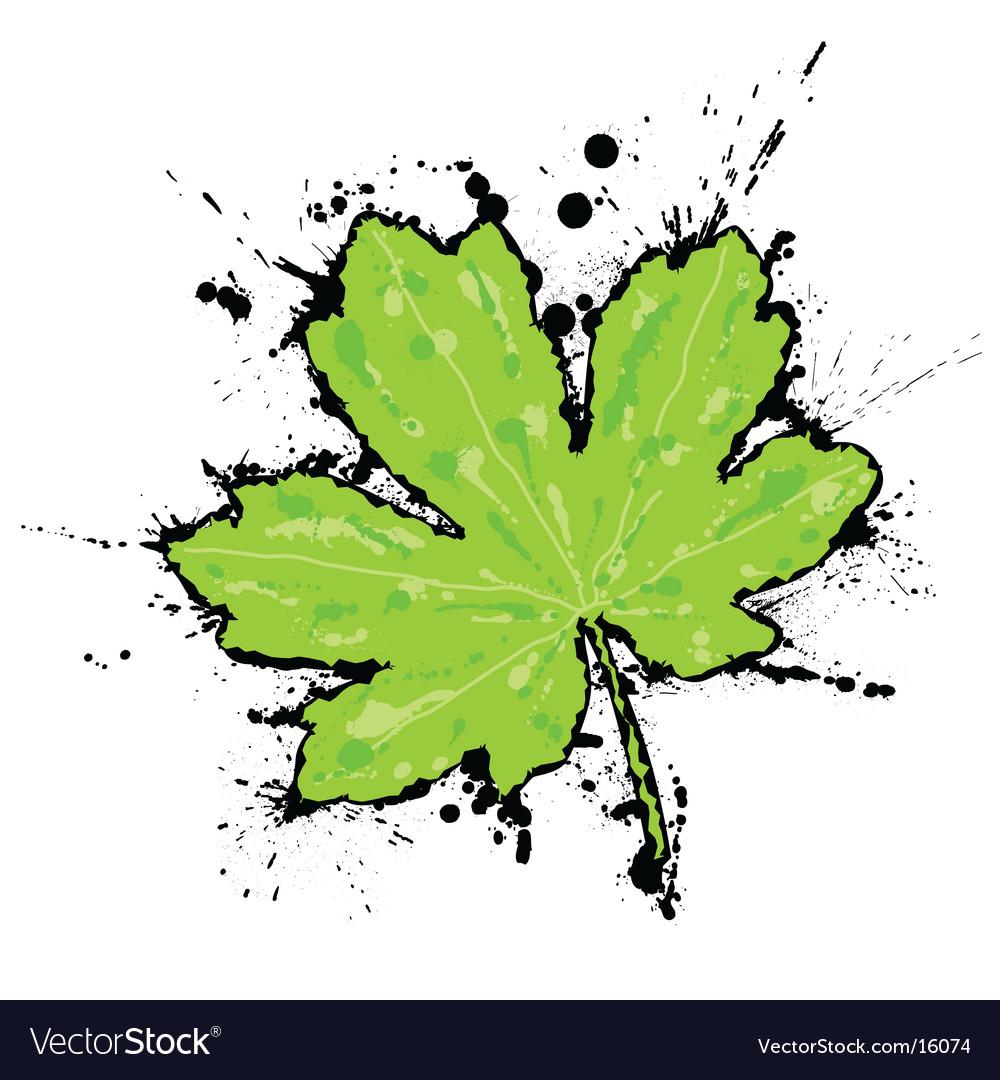 Inked leaf vector